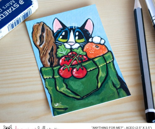 25-07-2014 Anything For Me? Tuxedo Cat ACEO