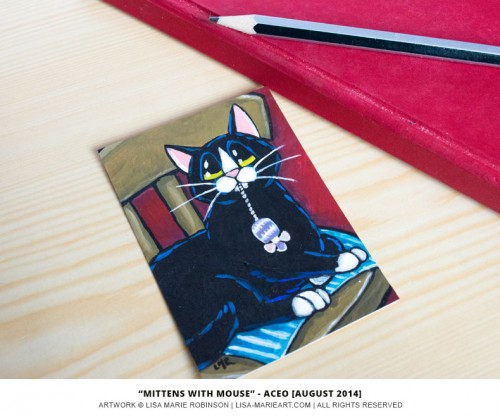 14-08-2014 - Mittens, Tuxedo Cat aceo by Lisa Marie Robinson