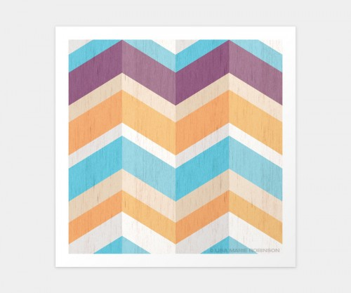 A Day at the Beach Chevron Pattern Print