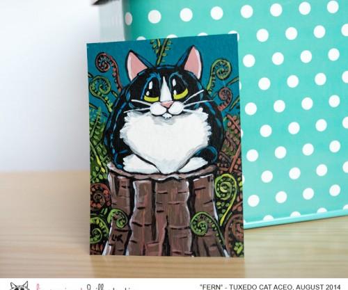 Fern - Tuxedo Cat ACEO by Lisa Marie Robinson