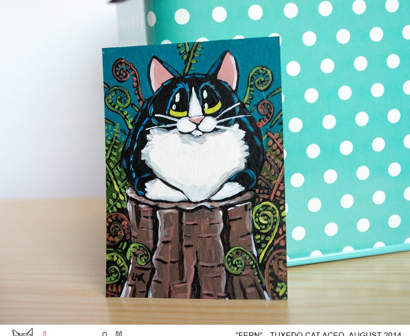 Fern - Tuxedo Cat ACEO by Lisa Marie Robinson