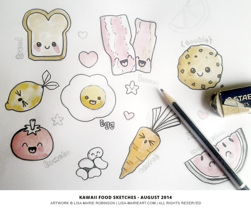 Kawaii Food Sketches by Lisa Marie Robinson