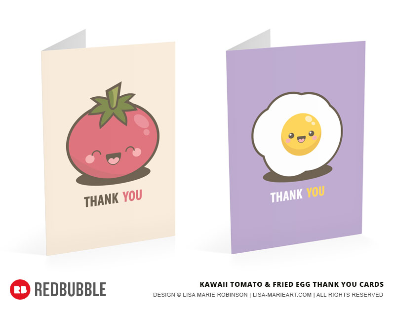 KawaiiTomato and Egg Thank You Cards by Lisa Marie Robinson