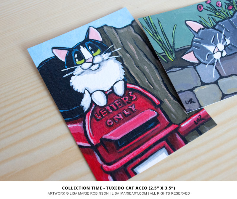 02-09-2014 Collection Time - Tuxedo Cat ACEO by Lisa Marie Robinson