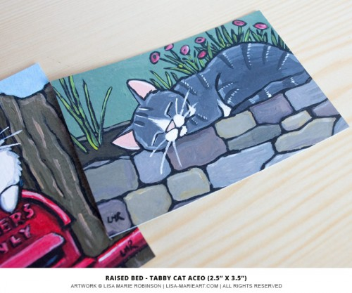 02-09-2014 Raised Bed - Tabby Cat ACEO by Lisa Marie Robinson
