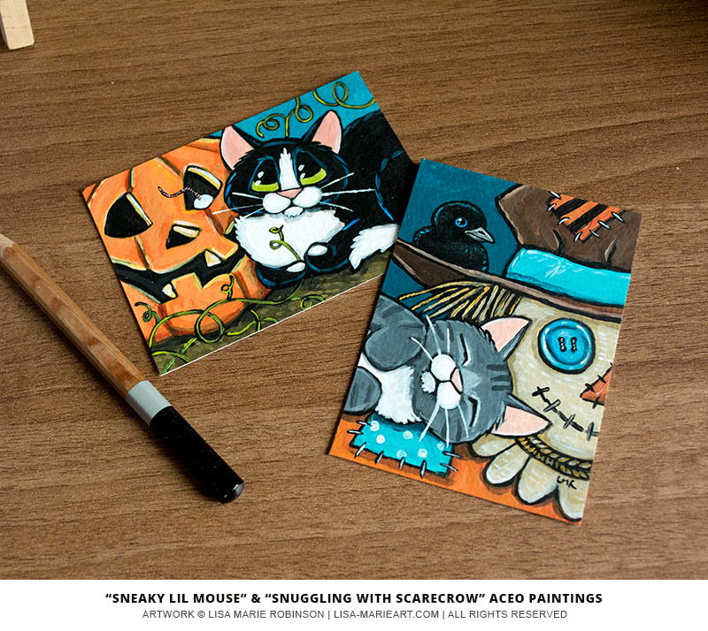 16-09-2014 Halloween Cat ACEO Paintings by Lisa Marie Robinson