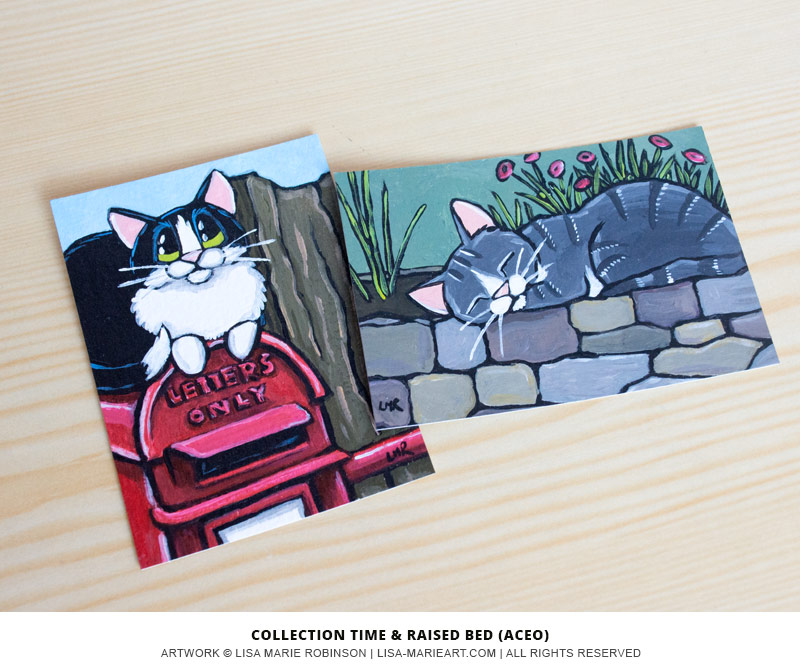 Tuxedo and Tabby Cat ACEO paintings by Lisa Marie Robinson