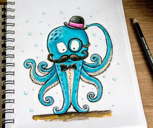 Illustration Friday: Octopus by Lisa Marie Robinson