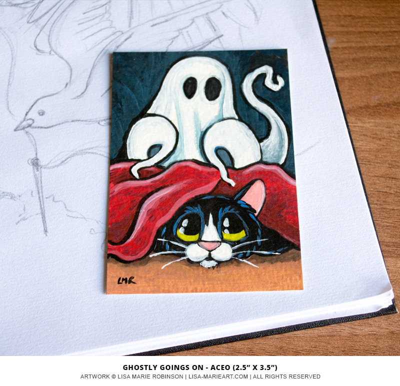 Ghostly Going On Halloween Themed Cat ACEO by Lisa Marie Robinson