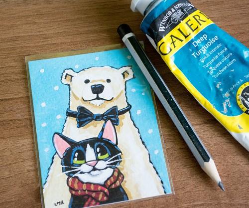 Polar Bear and Tuxedo Cat ACEO Painting by Lisa Marie Robinson