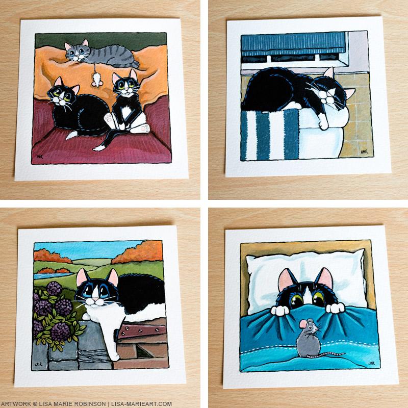 16-11-2014 Tuxedo Cat Illustrations for Whitby Galleries