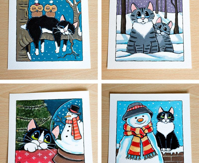 16-11-2014 Winter & Festive Cat Illustrations for Whitby Galleries