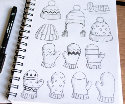 Winter Woolies Pencil & Ink Sketches