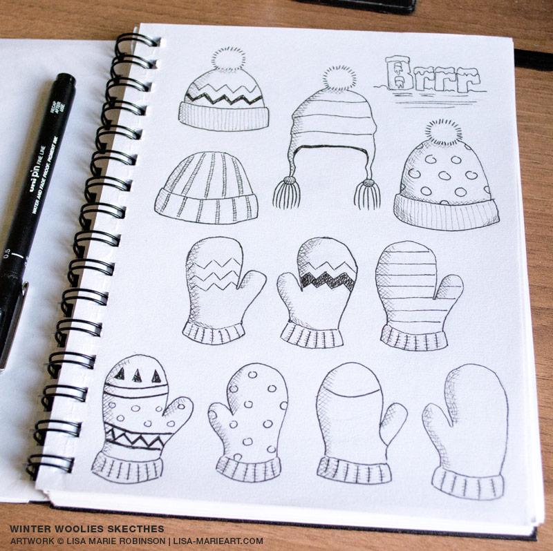 Winter Woolies Pencil & Ink Sketches