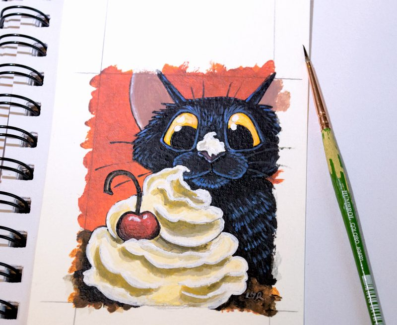 Cat that Got the Cream ACEO Art