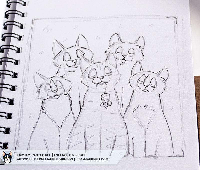 Feline Family Portrait Pencil Sketch