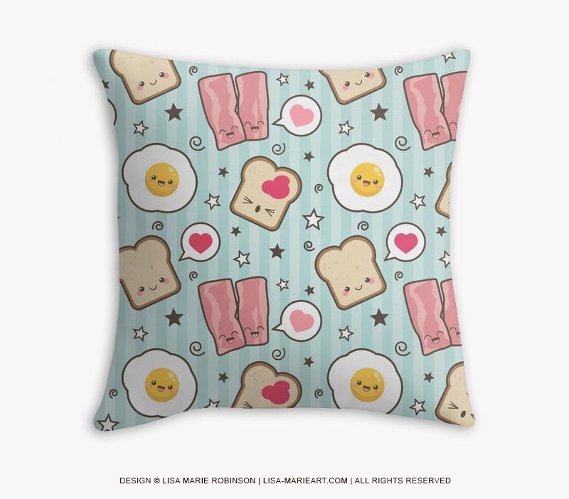 Kawaii Bacon and Egg Sandwich Throw Pillow