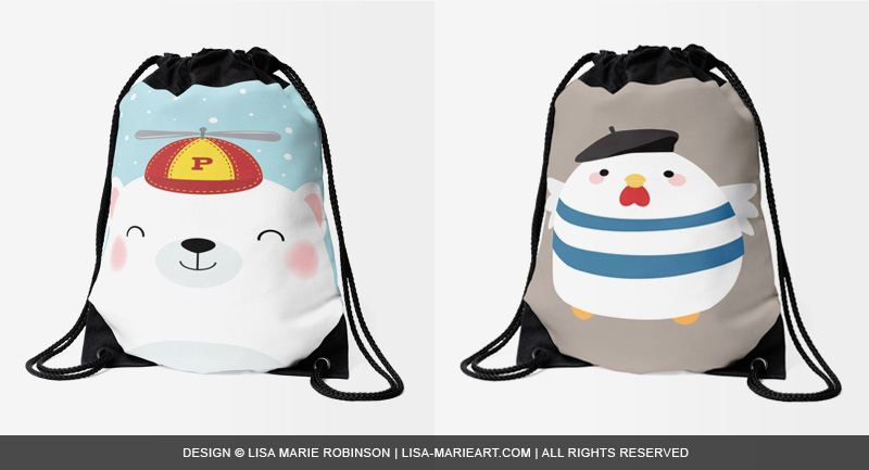 Cute Polar Bear and French Hen drawstringbags