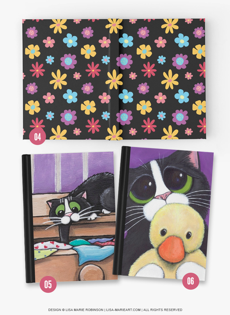 Cat and Flower Hardcover Journal Notebooks