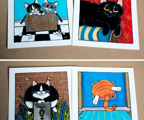 Quirky Cat Illustrations at Whitby Galleries