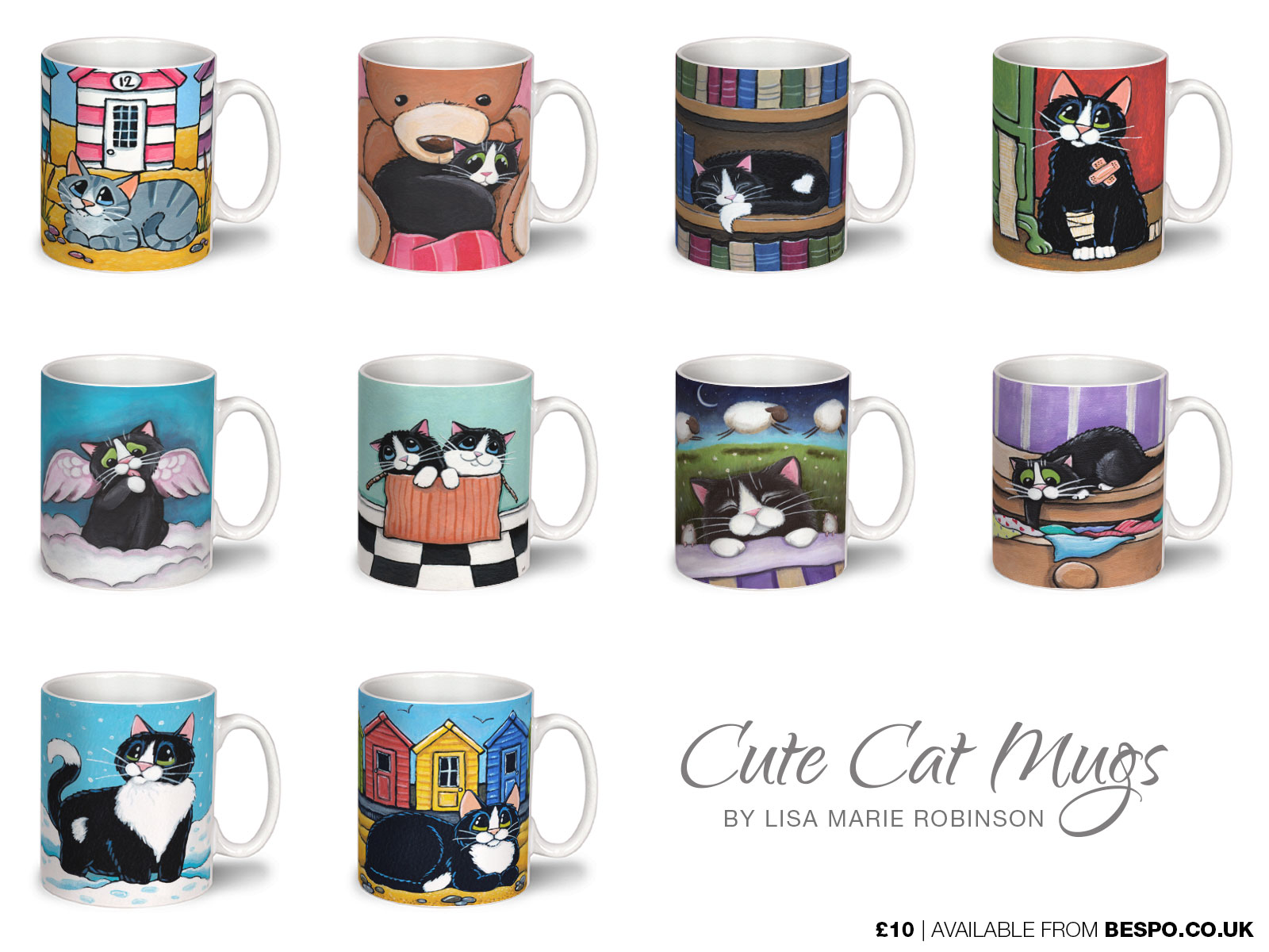 New Cat Art Mugs at Bespo