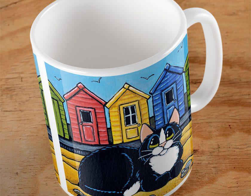 Tuxedo Cat and Beach Huts Mug