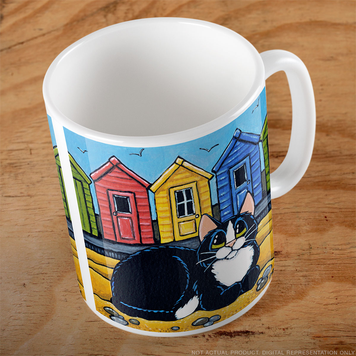 Tuxedo Cat and Beach Huts Mug