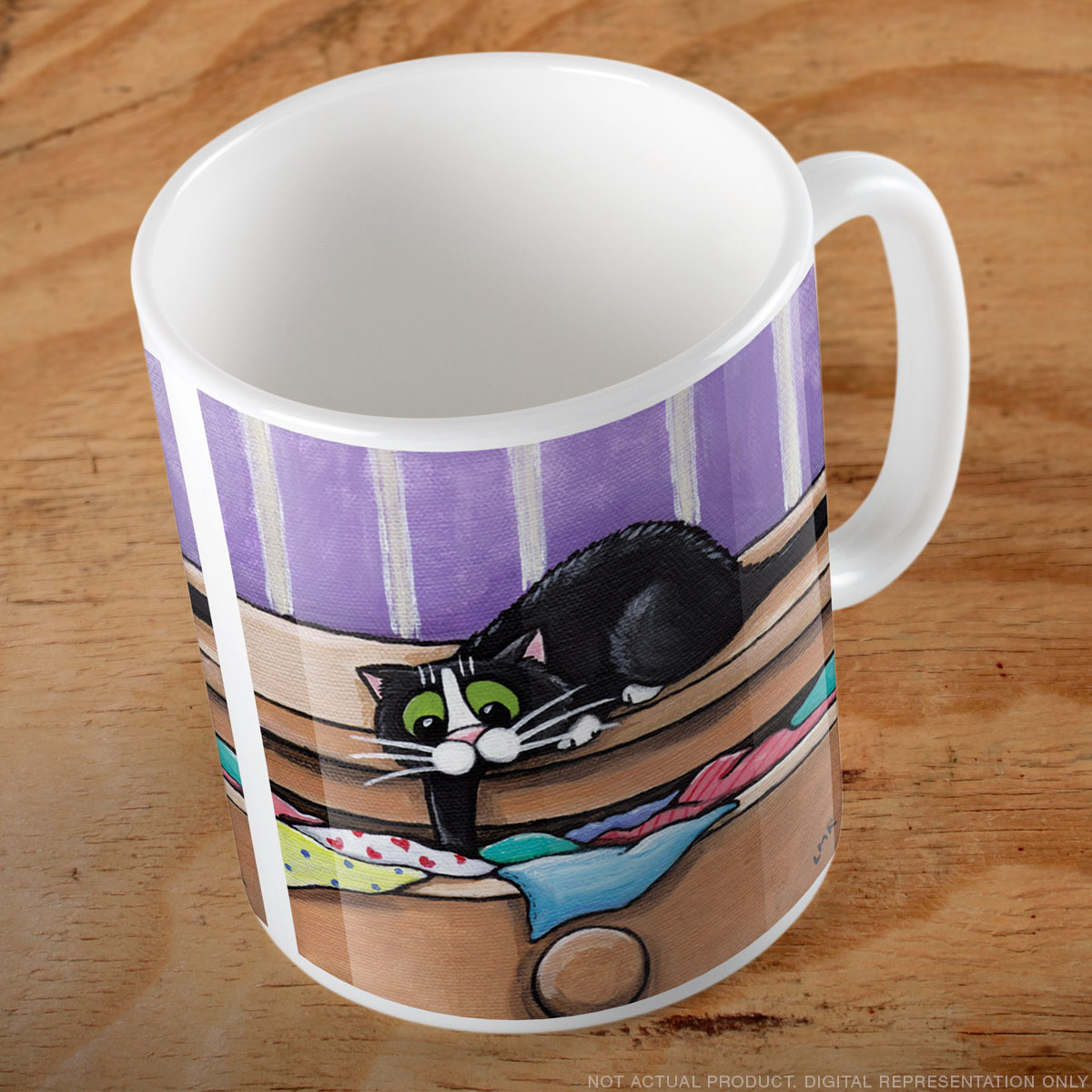 Tuxdo Cat Searching for Treasure Mug
