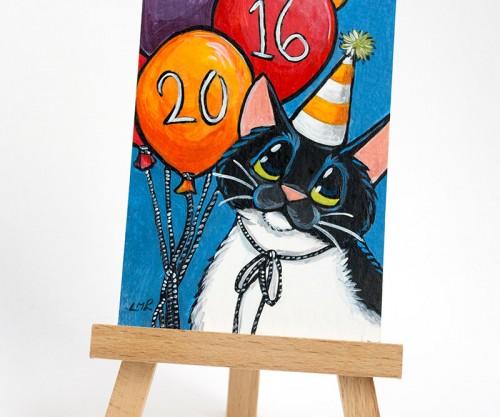 Happy 2016 Cat ACEO art card
