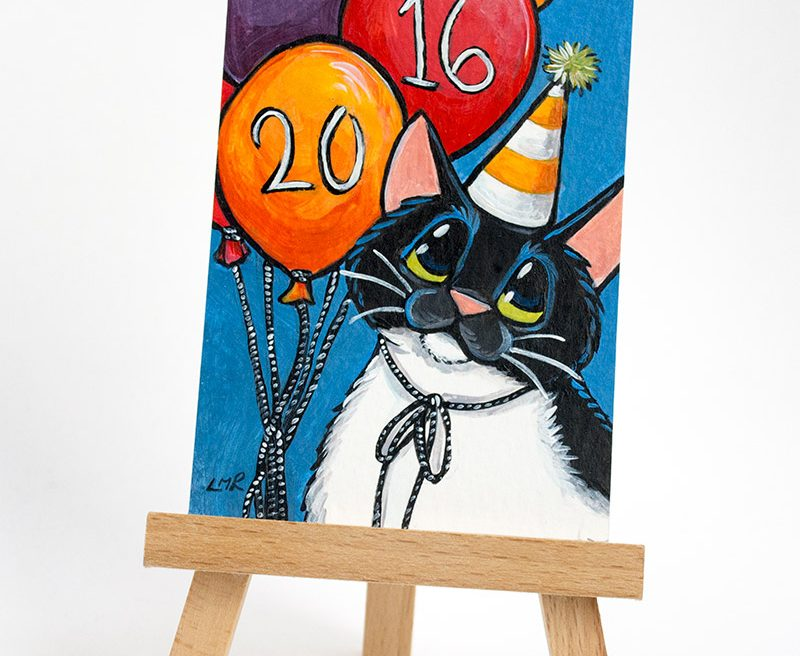 Happy 2016 Cat ACEO art card