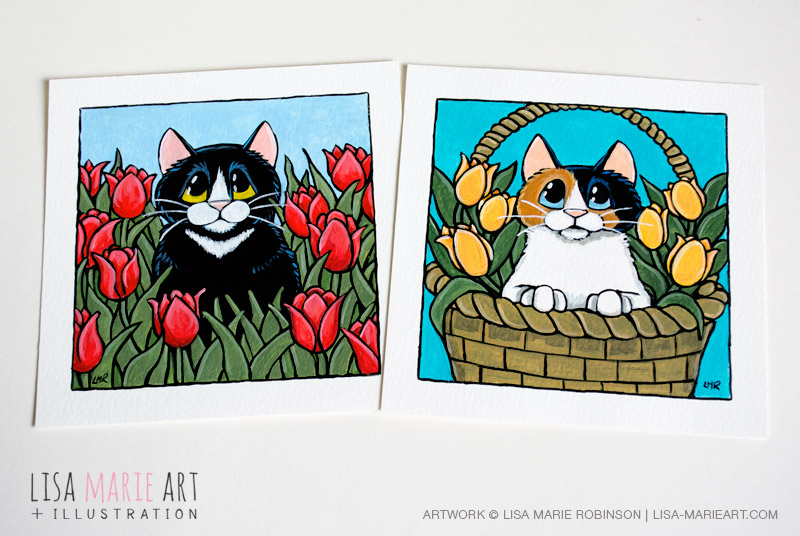 Spring Cat Illustrations at Whitby Galleries