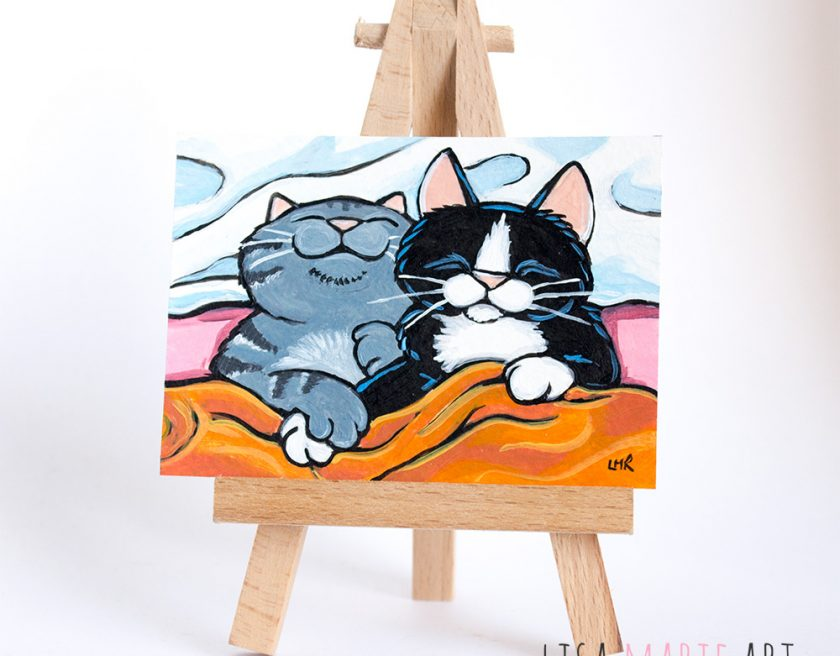 Cat ACEO - Snuggle Buddies by Lisa Marie Robinson