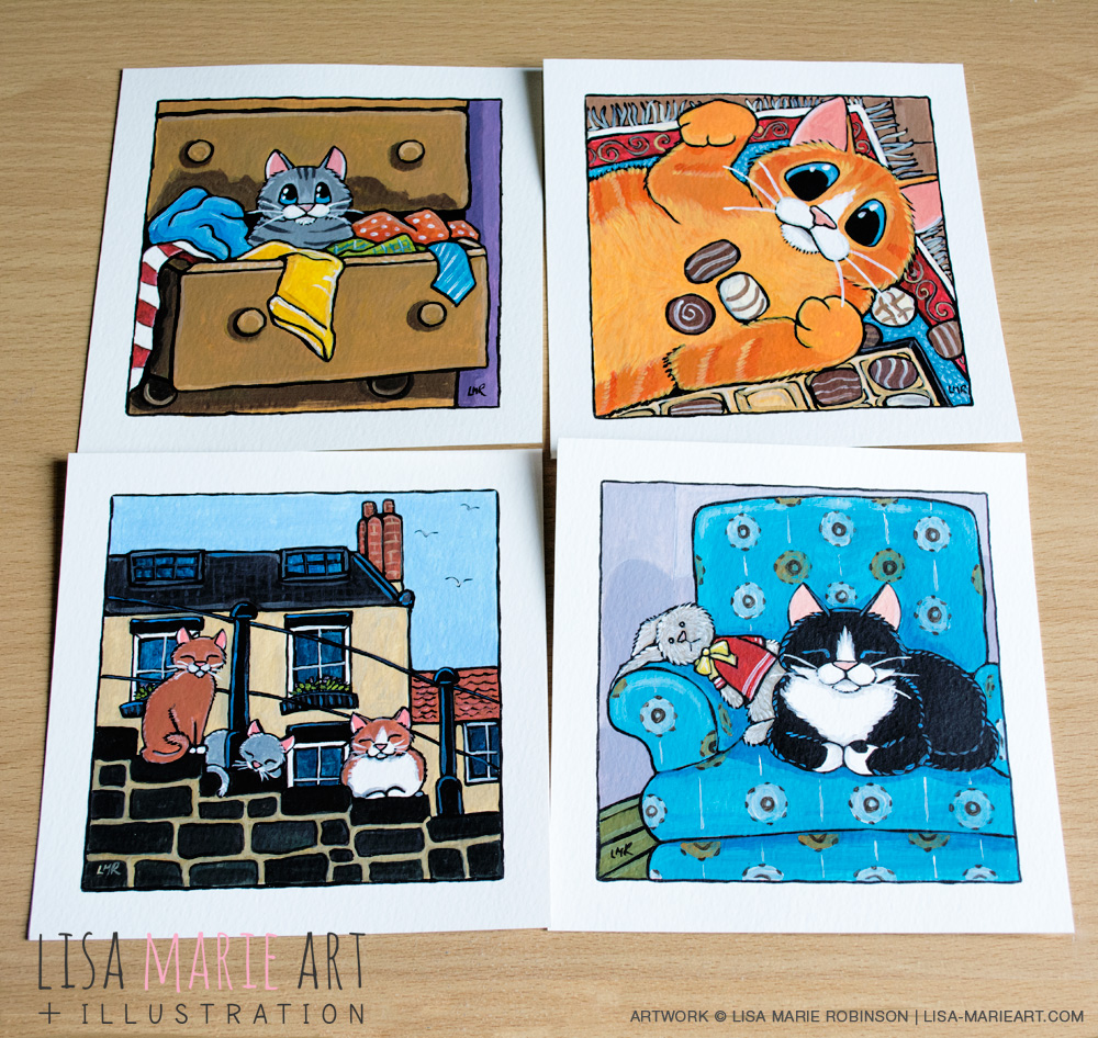 Cat Illustrations at Whitby Galleries March 2016