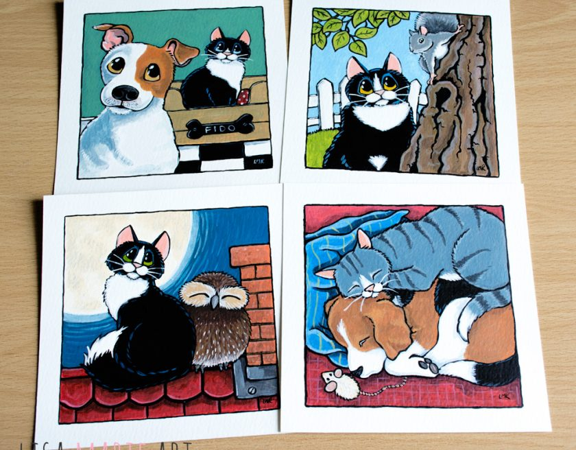 Cats with other Animals Illustrations at Whitby Galleries March 2016