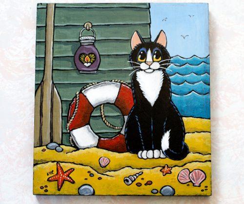 Tuxedo Cat at the Beach Illustration