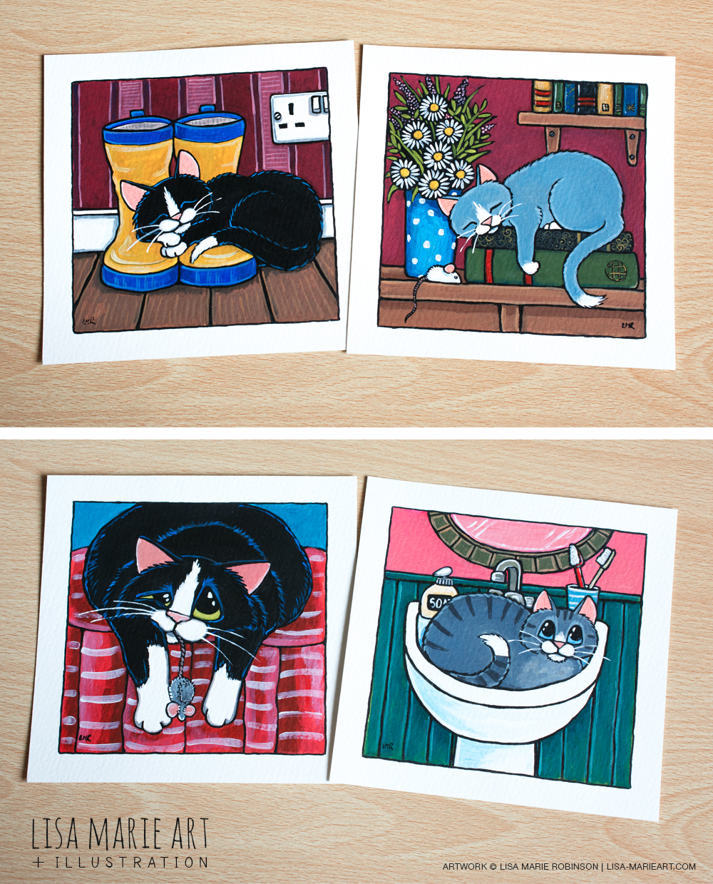 Whimsical Cat Illustrations at Whitby Galleries May 2016
