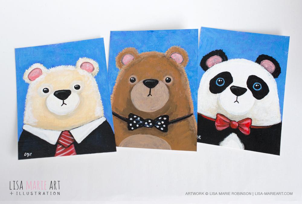 Cute Bear ACEO Art Cards by Lisa Marie Robinson