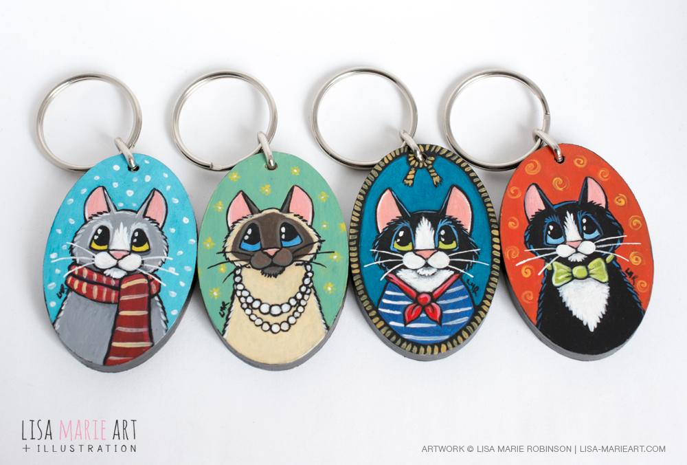 OOAK Handpainted Cat Keyrings by Lisa Marie Robinson