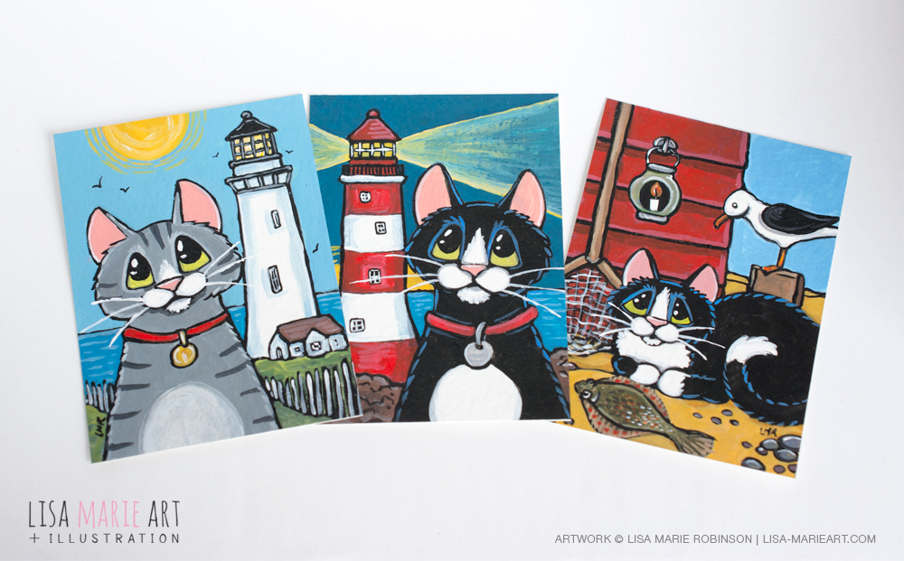 Lighthouse and Seaside Cat ACEO Art Cards by Lisa Marie Robinson