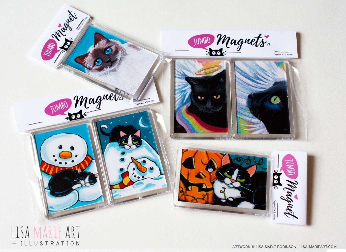 Jumbo Cat Art Fridge Magnets