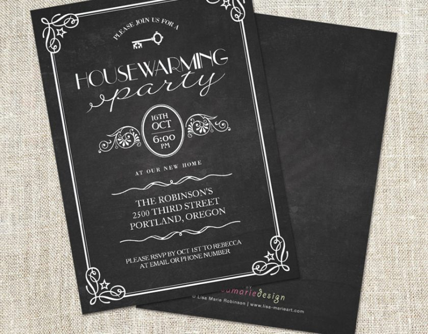 Vintage Chalkboard Housewarming Party Invitations