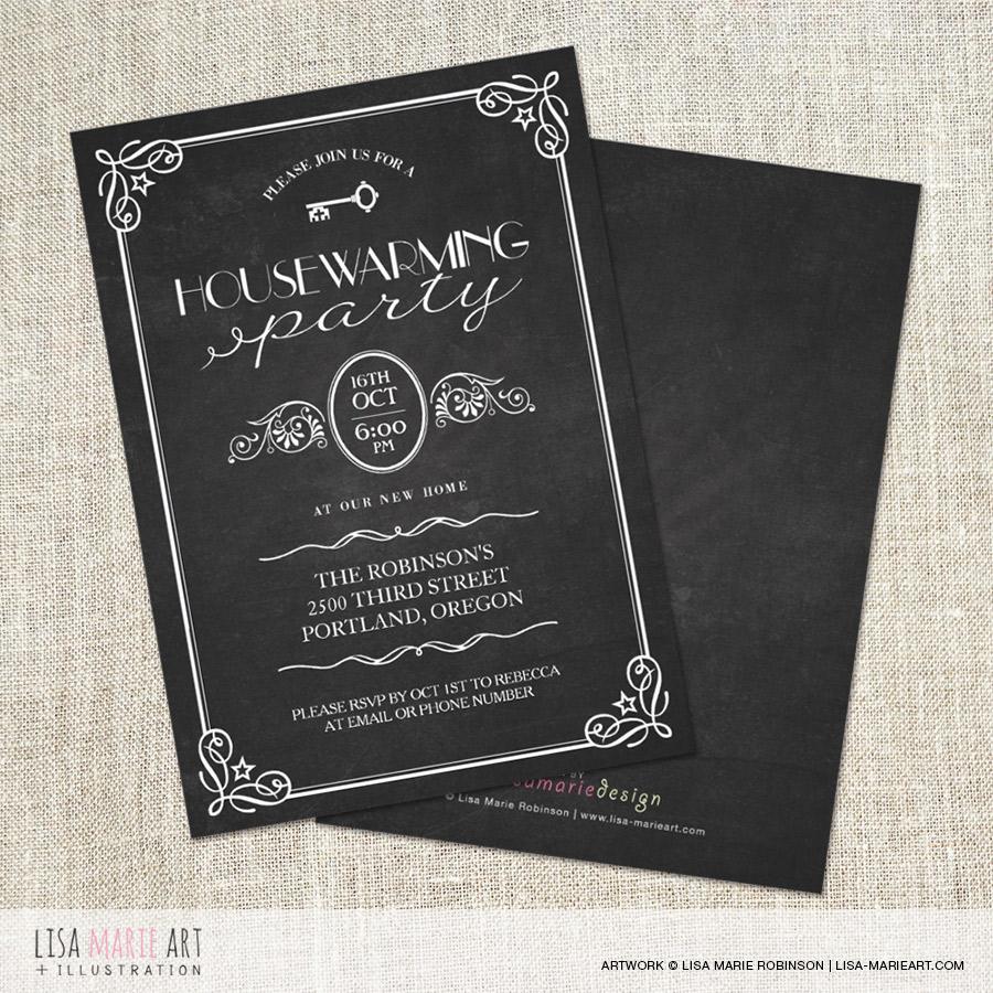 Vintage Chalkboard Housewarming Party Invitations