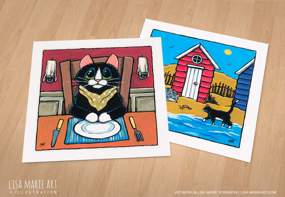 Beach hut and dining cat paintings - Whitby Galleries July 2016