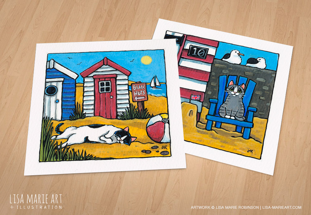 Beach hut cat paintings - Whitby Galleries- July 2016