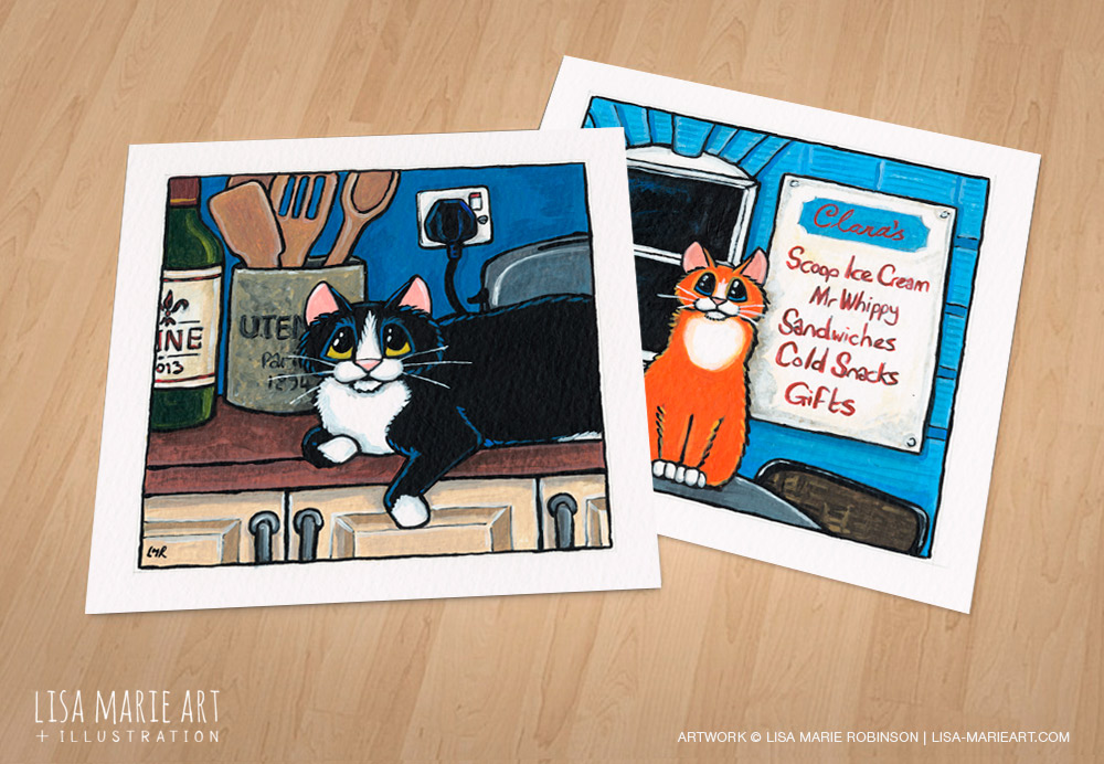 Kitchen and ice cream parlour cat paintings - Whitby Galleries July 2016