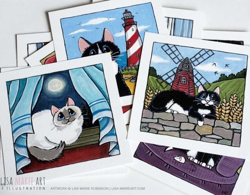 Cat Art for Whitby Galleries - August 2016