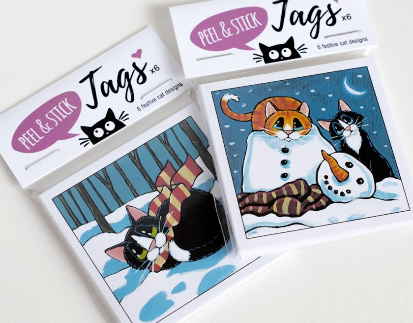 Handmade Christmas Cat Gift Tags (6 Pack)