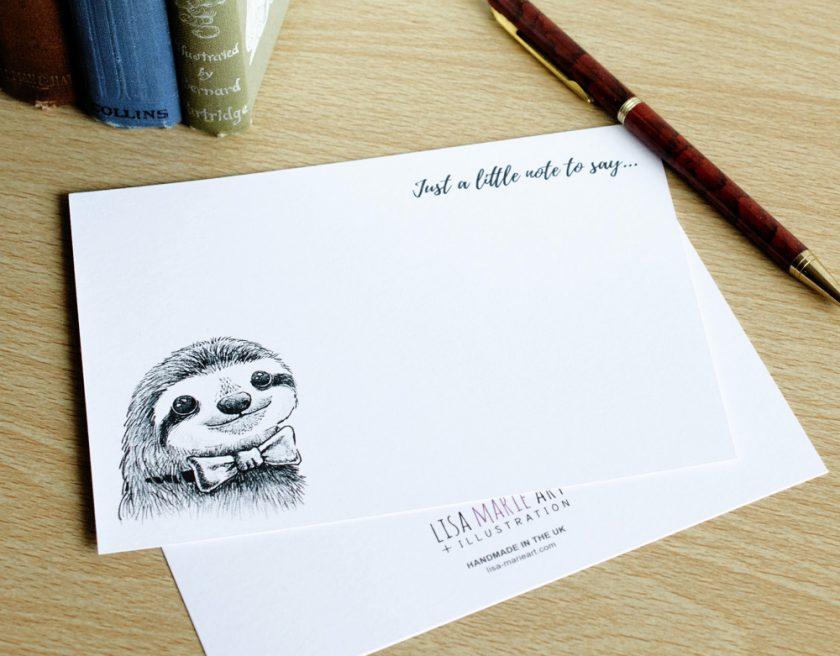 Dapper Sloth Handmade Notecard Set (Front and Back)