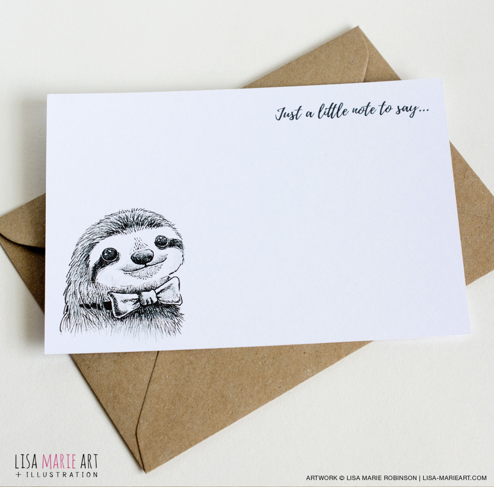 Handmade Sloth Notecards (Card & Envelope)