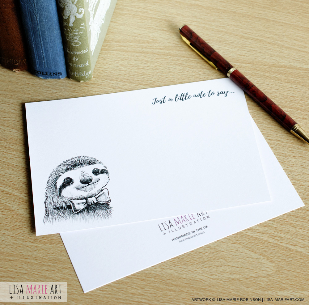 Dapper Sloth Handmade Notecard Set (Front and Back)